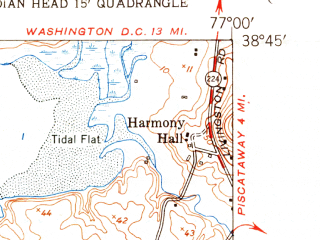 Reduced fragment of topographic map en--usgs--024k--030874--(1951)--N038-45-00_W077-07-30--N038-37-30_W077-00-00; towns and cities Fort Washington, Mount Vernon, Fort Hunt, Hybla Valley, Accokeek