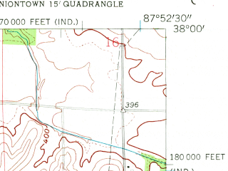 Reduced fragment of topographic map en--usgs--024k--030875--(1957)--N038-00-00_W088-00-00--N037-52-30_W087-52-30; towns and cities Mount Vernon
