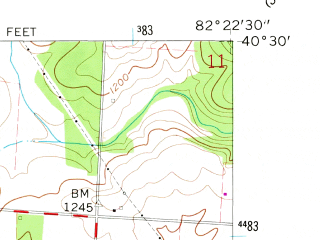 Reduced fragment of topographic map en--usgs--024k--030880--(1961)--N040-30-00_W082-30-00--N040-22-30_W082-22-30; towns and cities Mount Vernon, Gambier