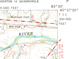 Reduced fragment of topographic map en--usgs--024k--030883--(1961)--N040-37-30_W083-37-30--N040-30-00_W083-30-00; towns and cities Mount Victory, Ridgeway
