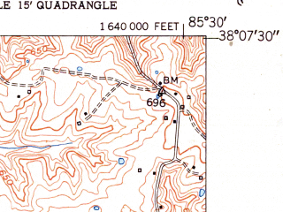 Reduced fragment of topographic map en--usgs--024k--030893--(1951)--N038-07-30_W085-37-30--N038-00-00_W085-30-00; towns and cities Mount Washington