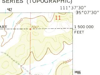 Reduced fragment of topographic map en--usgs--024k--030963--(1962)--N035-07-30_W111-45-00--N035-00-00_W111-37-30; towns and cities Kachina Village