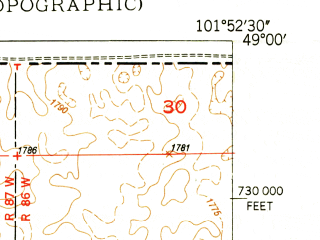 Reduced fragment of topographic map en--usgs--024k--030971--(1949)--N049-00-00_W102-00-00--N048-52-30_W101-52-30