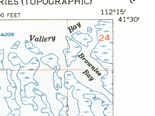 Reduced fragment of topographic map en--usgs--024k--030973--(1955)--N041-30-00_W112-22-30--N041-22-30_W112-15-00