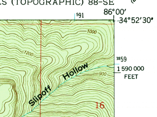 Reduced fragment of topographic map en--usgs--024k--030999--(1948)--N034-52-30_W086-07-30--N034-45-00_W086-00-00; towns and cities Skyline