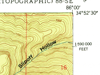Reduced fragment of topographic map en--usgs--024k--030999--(1951)--N034-52-30_W086-07-30--N034-45-00_W086-00-00; towns and cities Skyline
