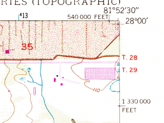 Reduced fragment of topographic map en--usgs--024k--031048--(1949)--N028-00-00_W082-00-00--N027-52-30_W081-52-30; towns and cities Lakeland Highlands, Medulla, Mulberry, Highland City