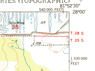 Reduced fragment of topographic map en--usgs--024k--031048--(1950)--N028-00-00_W082-00-00--N027-52-30_W081-52-30; towns and cities Lakeland Highlands, Highland City, Medulla, Mulberry