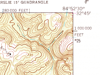 Reduced fragment of topographic map en--usgs--024k--031049--(1955)--N032-45-00_W085-00-00--N032-37-30_W084-52-30
