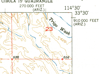 Reduced fragment of topographic map en--usgs--024k--031077--(1952)--N033-30-00_W114-37-30--N033-22-30_W114-30-00