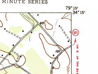 Reduced fragment of topographic map en--usgs--024k--031097--(1947)--N034-15-00_W079-22-30--N034-07-30_W079-15-00; towns and cities Mullins