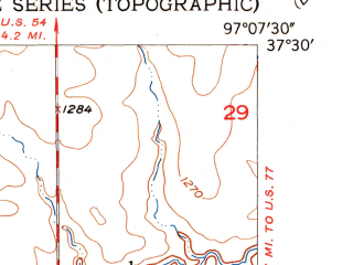 Reduced fragment of topographic map en--usgs--024k--031101--(1955)--N037-30-00_W097-15-00--N037-22-30_W097-07-30; towns and cities Mulvane