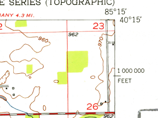 Reduced fragment of topographic map en--usgs--024k--031106--(1952)--N040-15-00_W085-22-30--N040-07-30_W085-15-00; towns and cities Selma