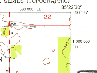 Reduced fragment of topographic map en--usgs--024k--031107--(1952)--N040-15-00_W085-30-00--N040-07-30_W085-22-30; towns and cities Muncie, Yorktown