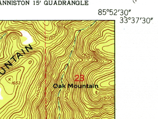 Reduced fragment of topographic map en--usgs--024k--031116--(1947)--N033-37-30_W086-00-00--N033-30-00_W085-52-30; towns and cities Bynum