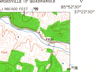 Reduced fragment of topographic map en--usgs--024k--031117--(1953)--N037-22-30_W086-00-00--N037-15-00_W085-52-30; towns and cities Munfordville