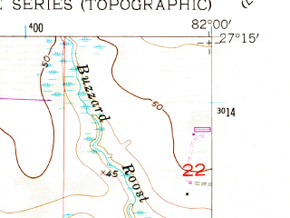 Reduced fragment of topographic map en--usgs--024k--031142--(1956)--N027-15-00_W082-07-30--N027-07-30_W082-00-00