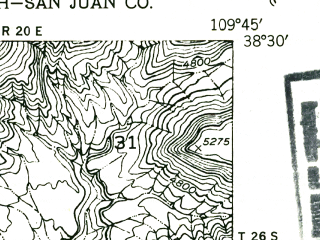 Reduced fragment of topographic map en--usgs--024k--031201--(1952)--N038-30-00_W109-52-30--N038-22-30_W109-45-00