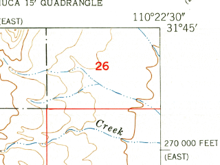 Reduced fragment of topographic map en--usgs--024k--031213--(1948)--N031-45-00_W110-30-00--N031-37-30_W110-22-30