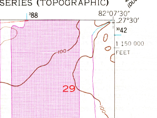 Reduced fragment of topographic map en--usgs--024k--031226--(1956)--N027-30-00_W082-15-00--N027-22-30_W082-07-30