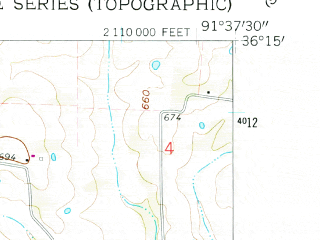 Reduced fragment of topographic map en--usgs--024k--031240--(1962)--N036-15-00_W091-45-00--N036-07-30_W091-37-30; towns and cities Horseshoe Bend