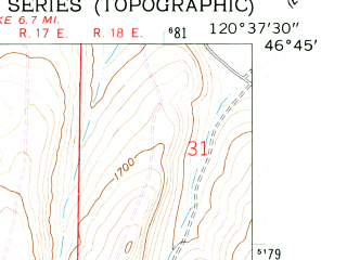 Reduced fragment of topographic map en--usgs--024k--031263--(1958)--N046-45-00_W120-45-00--N046-37-30_W120-37-30; towns and cities Naches