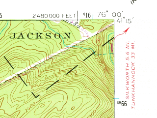 Reduced fragment of topographic map en--usgs--024k--031301--(1954)--N041-15-00_W076-07-30--N041-07-30_W076-00-00; towns and cities Glen Lyon