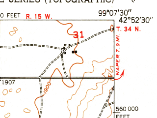 Reduced fragment of topographic map en--usgs--024k--031312--(1951)--N042-52-30_W099-15-00--N042-45-00_W099-07-30