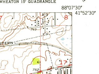 Reduced fragment of topographic map en--usgs--024k--031313--(1953)--N041-52-30_W088-15-00--N041-45-00_W088-07-30; towns and cities Naperville, Warrenville, Winfield