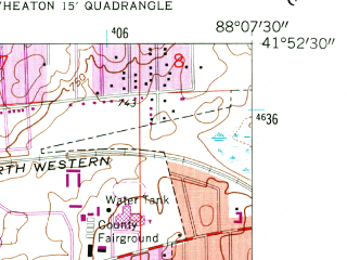 Reduced fragment of topographic map en--usgs--024k--031313--(1962)--N041-52-30_W088-15-00--N041-45-00_W088-07-30; towns and cities Naperville, Warrenville, Winfield