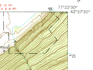 Reduced fragment of topographic map en--usgs--024k--031318--(1942)--N042-37-30_W077-30-00--N042-30-00_W077-22-30; towns and cities Cohocton, Naples