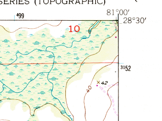 Reduced fragment of topographic map en--usgs--024k--031336--(1953)--N028-30-00_W081-07-30--N028-22-30_W081-00-00