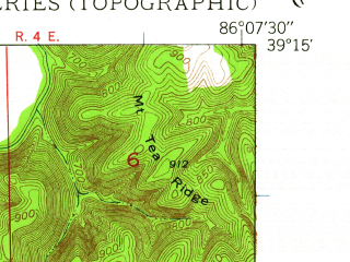 Reduced fragment of topographic map en--usgs--024k--031361--(1947)--N039-15-00_W086-15-00--N039-07-30_W086-07-30; towns and cities Nashville