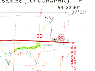 Reduced fragment of topographic map en--usgs--024k--031363--(1962)--N037-30-00_W094-30-00--N037-22-30_W094-22-30