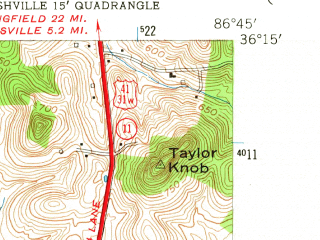 Reduced fragment of topographic map en--usgs--024k--031366--(1952)--N036-15-00_W086-52-30--N036-07-30_W086-45-00; towns and cities Nashville