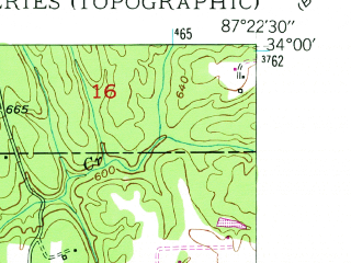 Reduced fragment of topographic map en--usgs--024k--031414--(1949)--N034-00-00_W087-30-00--N033-52-30_W087-22-30; towns and cities Nauvoo