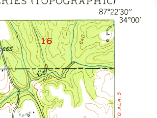 Reduced fragment of topographic map en--usgs--024k--031414--(1950)--N034-00-00_W087-30-00--N033-52-30_W087-22-30; towns and cities Nauvoo