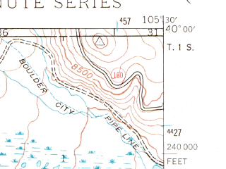 Reduced fragment of topographic map en--usgs--024k--031466--(1942)--N040-00-00_W105-37-30--N039-52-30_W105-30-00; towns and cities Nederland