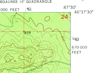 Reduced fragment of topographic map en--usgs--024k--031499--(1953)--N046-37-30_W087-37-30--N046-30-00_W087-30-00