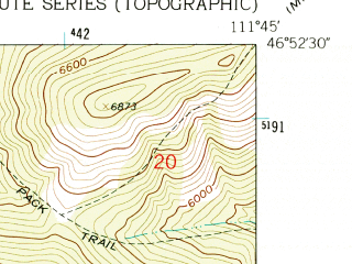Reduced fragment of topographic map en--usgs--024k--031534--(1962)--N046-52-30_W111-52-30--N046-45-00_W111-45-00