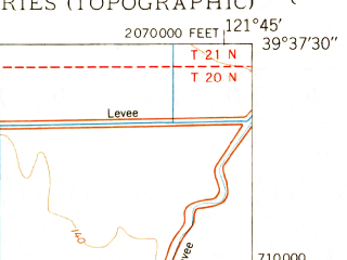 Reduced fragment of topographic map en--usgs--024k--031537--(1950)--N039-37-30_W121-52-30--N039-30-00_W121-45-00; towns and cities Durham
