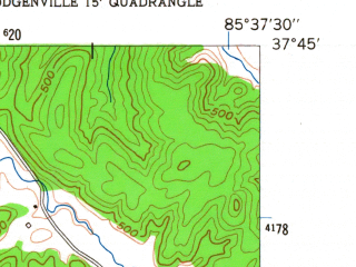 Reduced fragment of topographic map en--usgs--024k--031555--(1953)--N037-45-00_W085-45-00--N037-37-30_W085-37-30