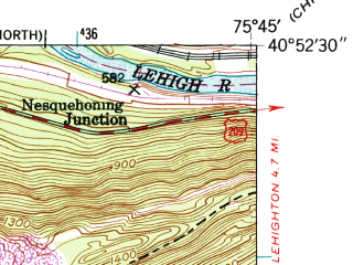 Reduced fragment of topographic map en--usgs--024k--031589--(1948)--N040-52-30_W075-52-30--N040-45-00_W075-45-00; towns and cities Nesquehoning, Summit Hill
