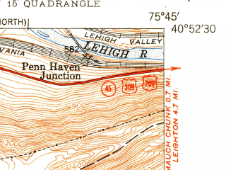 Reduced fragment of topographic map en--usgs--024k--031589--(1950)--N040-52-30_W075-52-30--N040-45-00_W075-45-00; towns and cities Nesquehoning, Summit Hill