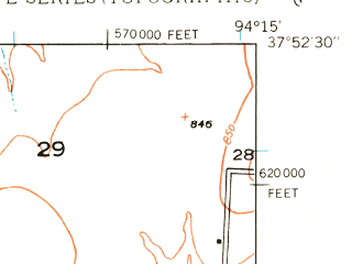 Reduced fragment of topographic map en--usgs--024k--031614--(1933)--N037-52-30_W094-22-30--N037-45-00_W094-15-00; towns and cities Nevada, Milo