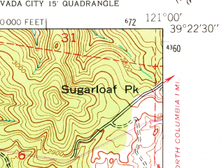 Reduced fragment of topographic map en--usgs--024k--031617--(1948)--N039-22-30_W121-07-30--N039-15-00_W121-00-00; towns and cities Nevada City