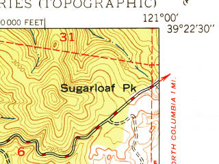 Reduced fragment of topographic map en--usgs--024k--031617--(1950)--N039-22-30_W121-07-30--N039-15-00_W121-00-00; towns and cities Nevada City