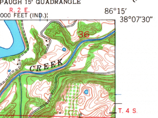 Reduced fragment of topographic map en--usgs--024k--031633--(1950)--N038-07-30_W086-22-30--N038-00-00_W086-15-00; towns and cities New Amsterdam
