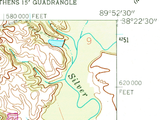 Reduced fragment of topographic map en--usgs--024k--031635--(1954)--N038-22-30_W090-00-00--N038-15-00_W089-52-30; towns and cities Hecker, New Athens