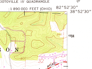 Reduced fragment of topographic map en--usgs--024k--031655--(1961)--N038-52-30_W083-00-00--N038-45-00_W082-52-30; towns and cities Portsmouth, New Boston, Rosemount